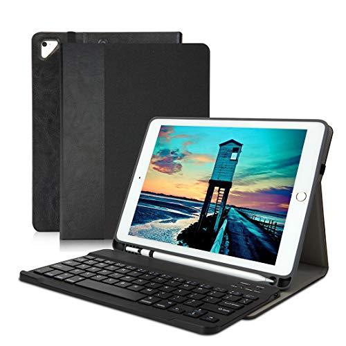 iPad Keyboard Case 6th Generation Also for iPad 2017 5th Gen iPad Pro 9.7 iPad Air 1/2- Wireless/BT - iPad Case with Keyboard and Pencil Holder - Auto Sleep/Wake BlackSplice
