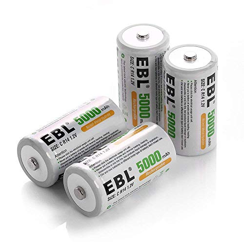 EBL 単二電池 充電式電池 ニッケル水素電池 4個パック 5000mAh 2個収納ケース付き 高容量5000mAh 約1200回使用可能 懐中電灯 ガスコンロ 給湯器などに適用 単二充電池 防災電池