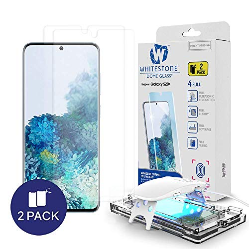 Galaxy S20 Plus Screen Protector [Dome Glass] Full HD Clear 3D Curved Edge Tempered Glass [Better Solution for Ultrasonic Fingerprint] Installation Tray by Whitestone - Two Pack
