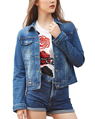 AnyuA Damen Jeans-Jacke Blouson ¨¹bergangsjacke Denim Mantel Outwear Trenchcoat Fr¨¹Hling Kurz Jack Dunkelblau S