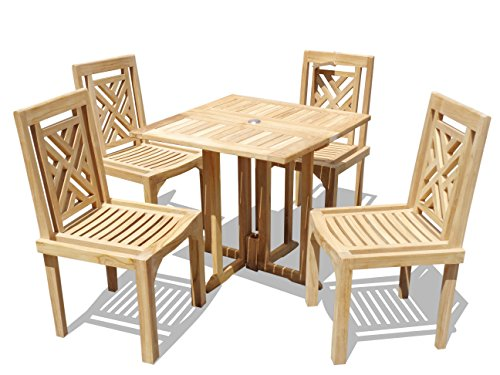 """Windsor's Genuine Grade A Teak, Barcelona 31"""" Square Drop Leaf Table W/ 4 Chippendale Stacking Chairs w Comfortable Contoured seat, World's Best Outdoor Furniture, Teak Lasts A Lifetime! Assembled"""