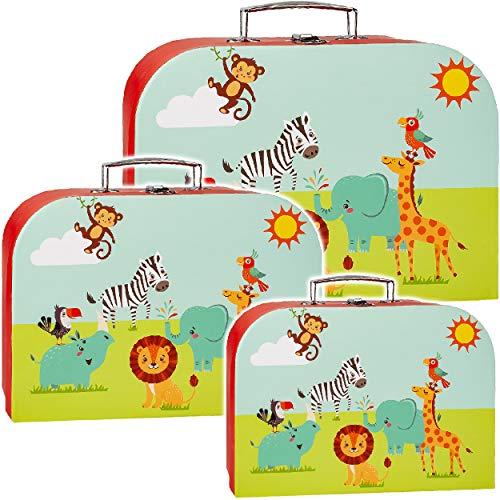 alles-meine.de GmbH 3 TLG. Set _ Koffer / Kinderkoffer _ Größen & Motivwahl _ in 3 verschiedenen Größen - Tiere - Zootiere - Elefant / Zebra / Giraffe / Löwe - Kofferset - ideal ..
