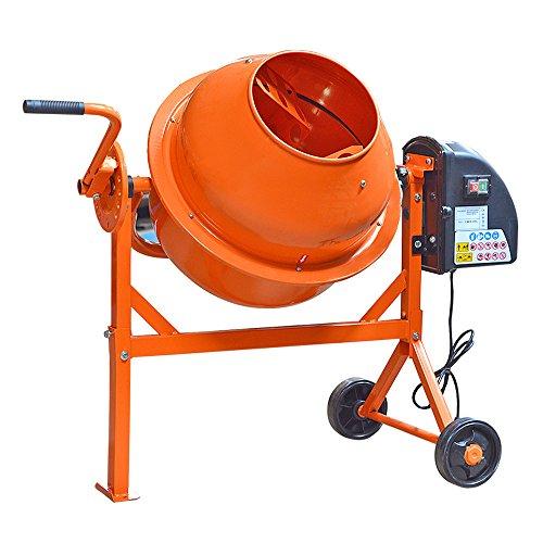 Panana - 63 Litros Hormigonera Eléctrica Mezclador de Cemento Mortero color Naranja 240V 220W 2 Ruedas Portátil