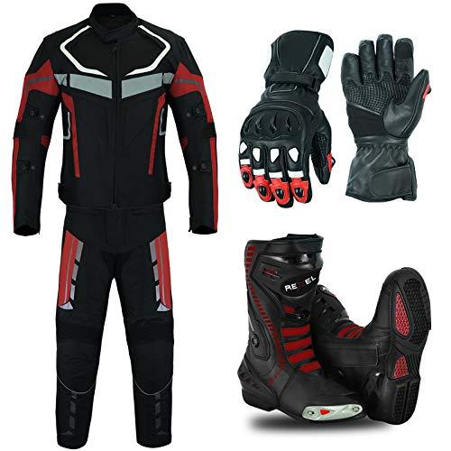 RXL Trajes de moto impermeable chaqueta de moto con pantalón, botas y guantes Paquete rojo CE Armor para hombre Envíanos un mensaje con tu talla de zapatos y guantes (L Chaquetas, Pantalón W32-L32)