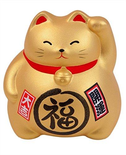 Hucha con diseño de gato grande Maneki Neko, 100% japonés, diferentes colores disponibles, cada uno con su simbología, dorado
