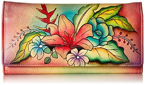 Anna by Anuschka Handbemaltes Leder | Geldbörse mit DREI Fächern, (Tropischer Blumenstrauß), Einheitsgröße
