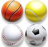 deloono | 4Stk | Stressball im Mini Sportball Design | 6,35cm | Antistressbälle Stressbälle in Mehreren Härtegraden Stress Balls auch als Mitgebsel fürs Büro oder Kindergeburtstag...