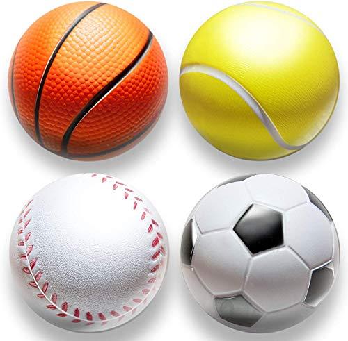 deloono | 4Stk | Stressball im Mini Sportball Design | 6,35cm | Antistressbälle Stressbälle in Mehreren Härtegraden Stress Balls auch als Mitgebsel fürs Büro oder Kindergeburtstag (Sport)