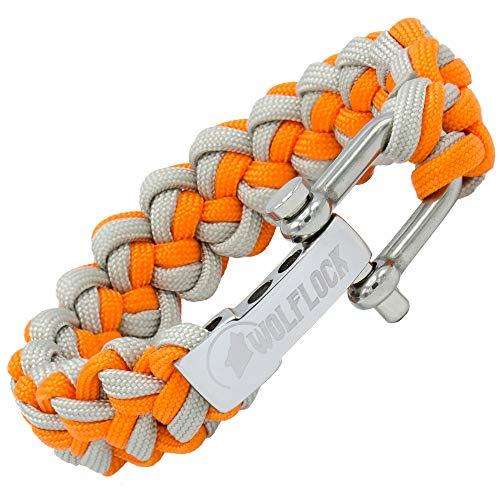 WOLFLOCK   Paracord Armband   Outdoor Survival Armband   Schwarz, Braun, Grün, Schwarz/Weiß   Schnellverschluss Edelstahl   Geschenk für Männer   SURVIVALIST (Orange/Grau)