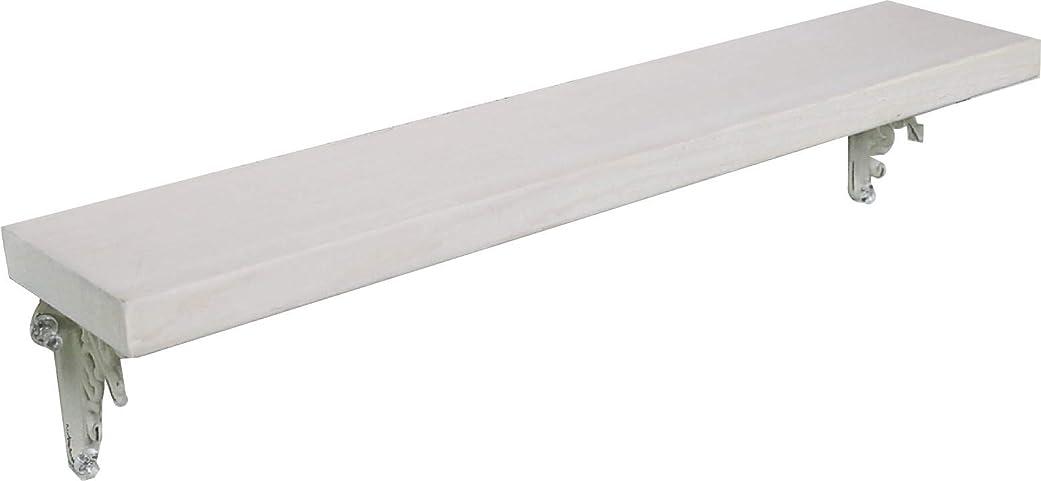 口径目の前の幻滅するアンティーク風 手作り 天然木 壁掛け棚 アイアンブラケット 幅45cmX奥行9cm 単品 (ホワイト色)