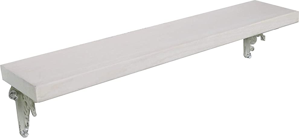 アパートトロイの木馬ポジションアンティーク風 手作り 天然木 壁掛け棚 アイアンブラケット 幅45cmX奥行9cm 単品 (ホワイト色)