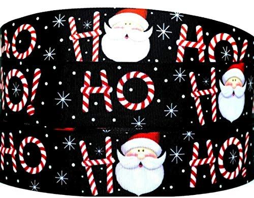 1.5 inch Grosgrain Ribbon Christmas Santa Claus Ho Ho Ho Printed are for Hair Bows Crafts Gifts and More (10 Yards)