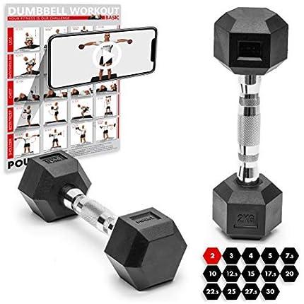POWRX Mancuernas hexagonales 30 kg Set (2 x 15 kg) - Revestimiento de Goma + PDF Workout (Negro)