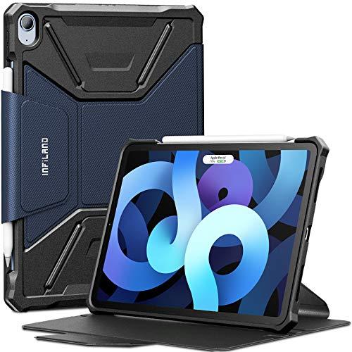 INFILAND Funda Case para iPad Air 4 Generación,Cover Carcasa Resistente Antigolpes para iPad 10.9 Inch 2020,[Auto-Reposo/Activación Cubierta] [a Prueba de Golpes] [Ultra Delgada Estuche],Azul Oscuro