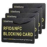 Slimliang 海外旅行用品にクレジットカードや銀行カード、ICカードなどをスキミング被害や電子マネースリから守るカード! 【厚さ0.9mm / RFID Guard カード】 4枚入り (Yellow)