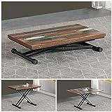 VOLERO' SHOPPING ONLINE, mesa transformable, mecanismo de salida, modelo Ulisse, parte superior de madera Patchwork, estructura de metal color gris.