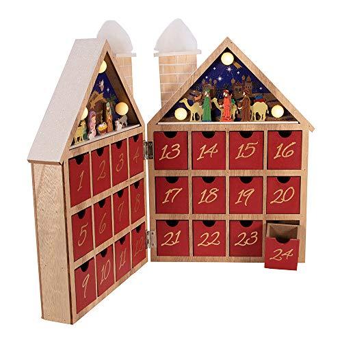 Kurt S. Adler Kurt Adler 11.81-Inch Battery-Operated Wooden LED Nativity Advent Calendar, Multi