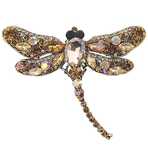 XYW Broche - Crystal Retro Dragonfly Broche Insecto Grande Brooch Pin Fashion Dress Abrigo Accesorios Linda Joyería (Metal Color : Coffee)