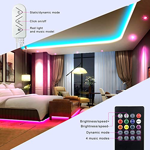 Micomlan 50ft/15M Led Strip Lights,Music Sync Color Changing RGB LED Strip Lights Built-in Mic, Bluetooth app Controlled LED Lights Rope Lights, 5050 RGB LED Light Strip(APP+Remote+Mic+3 Button ) 5