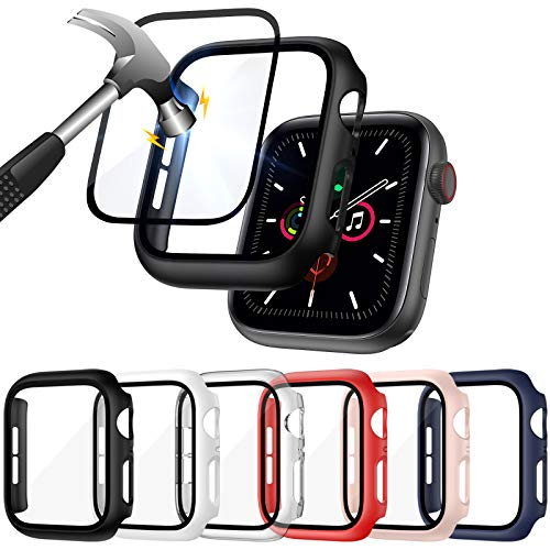 ZEBRE [6 Pack] Hard PC Case Compatible with Apple Watch SE/Series 6 / Series 5 / Series 4 44mm with Built in 9H Tempered Glass Screen Protector- All Around Full Coverage Protective Cover Bumper