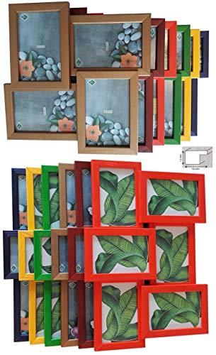 Collage für 4 oder 6 Bilder (10x15) Rahmen Holz Bilderrahmen Wandgalerie (Braun, 6 Bilder)