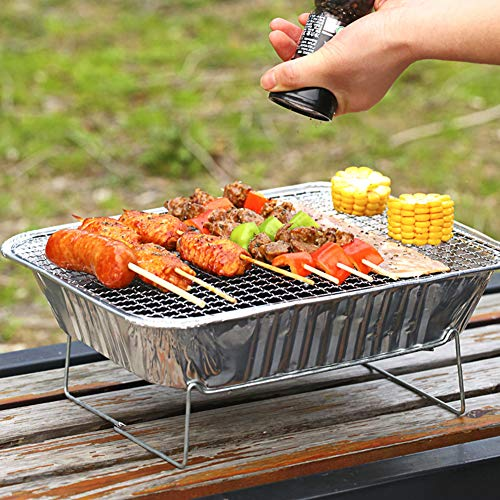 51Xw7puuBJL. SL500  - Mothcattl Barbecue-Ofen, Einweg-Grill, tragbar, für Zuhause, Outdoor, Picknick, Grill mit Holzkohle silber