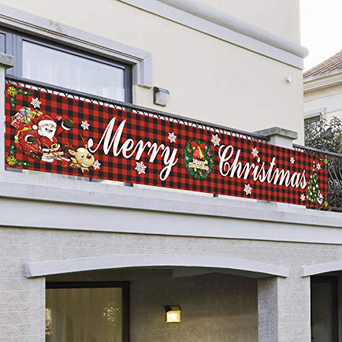 JINTN Weihnachtenbanner Große Frohe Weihnachten Banner Merry Christmas Banner Flagge Tür Banner Outdoor Indoor Weihnachtsdeko Garten Banner Hängende Deko für Hängen für Tor Garten Ferienhaus Party