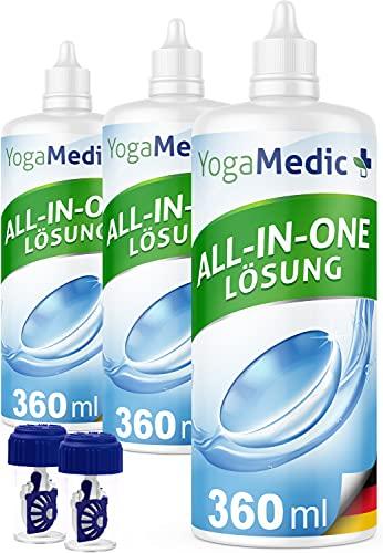 PREMIUM Kontaktlinsen Fluessigkeit für weiche Linsen, mit Panthenol, Made in Germany - 3x 360ml ALL-IN-ONE Kontaktlinsenflüssigkeit für Monats- und Wochenlinsen, 2 Behälter
