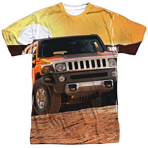 Hummer SUV Big Grill Sunset Ride 2-seitig Sublimated All Over Print Poly T-Shirt - Weiß - Klein