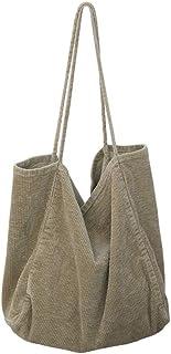 Ulisty Damen Groß Cord Tragetasche Retro Schultertasche Beiläufig Einkaufstasche Mode Handtasche Flachs grün
