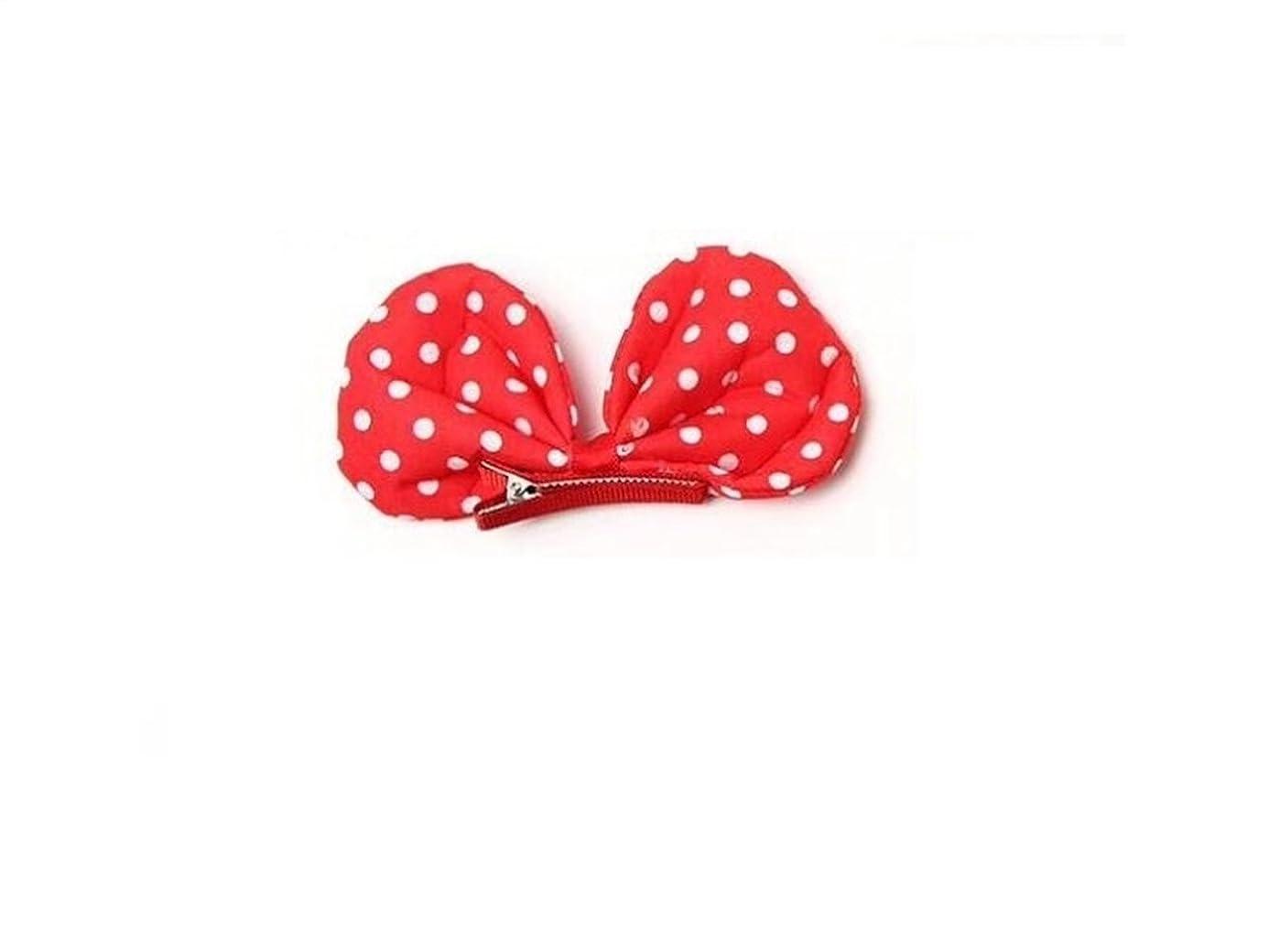 小さな収穫手術Osize 美しいスタイル 子供のかわいい弓の結び目の布ダックビルのクリップ水玉クリップヘアピンアクセサリー(赤)