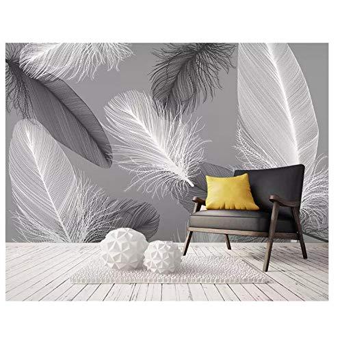 Lovemq Benutzerdefinierte Foto Tapete Wandbild Moderne Nordische Feder Abstrakte Kunst Wandmalerei Wohnzimmer Schlafzimmer 3D Tapete Tapeta-130X80Cm
