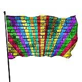 Bandera de jardín Patio al aire libre con ojales de latón LGBT bandera arco iris pintada viejo ladrillo pared mosca bandera interior decoración del hogar