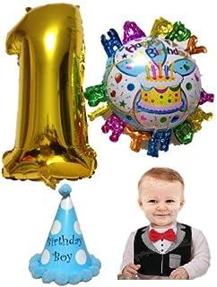 祝1歳 お誕生日 パーティー 飾り 5点 セット 数字風船 バースデー風船 三角帽 スタイ(よだれかけ) ハンドポンプ オリジナルセット 商品 (男の子)