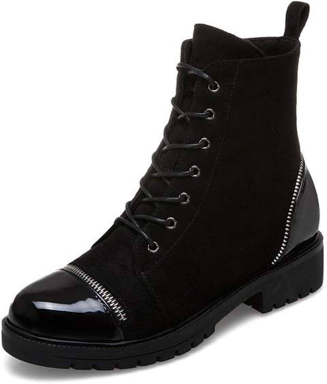 AN Womens Square Heels Zipper Urethane Boots DKU02513