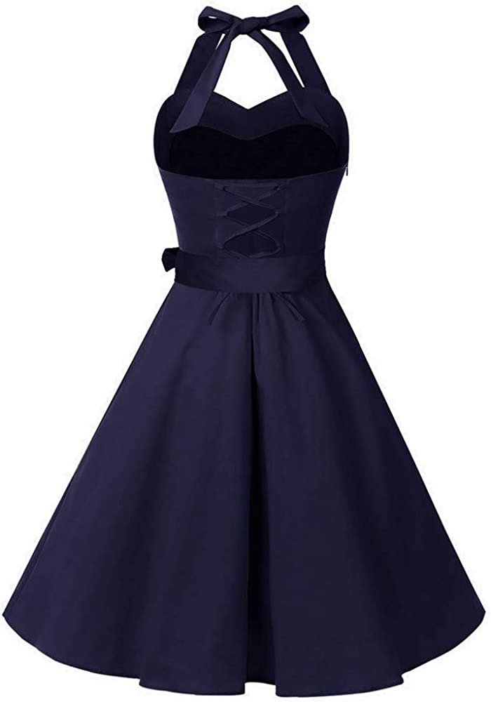 Plus Size Dresses,Women Sleeveless Solid Zipper Hepburn Vintage Swing High-Waist Pleated Dress