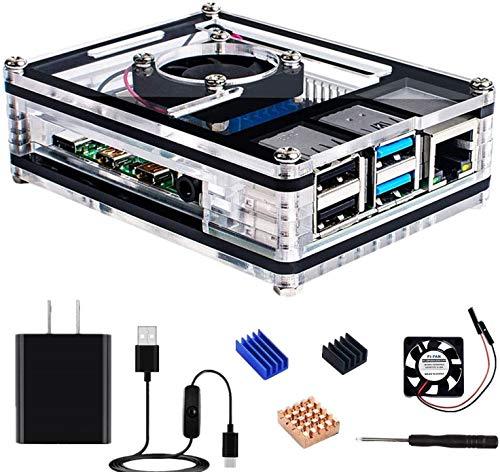 RasTec Raspberry Pi 4 ケース ラズベリーパイ 4専用ケースセット 9層アクリルケース 5V 3A USB-Type-C 電源アダプター 冷却ファン ヒートシンク Raspberry Pi 4 Model B対応(Raspberry Pi 4 Model B 本体なし)