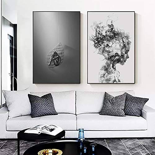 Arte de pared moderno abstracto en blanco y negro pintura en lienzo de personajes humo mujeres carteles impresiones para la decoración de la sala de estar imagen 30x45cm (12x18in) x2 sin marco