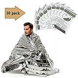 ANSUG 10 Paquete de Manta de Emergencia Supervivencia térmica Reflectante de Primeros Auxilios, Manta de Aluminio, Plateado