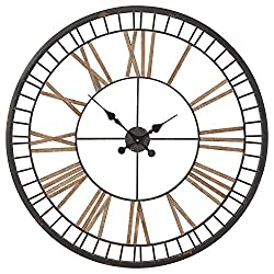Amazon Brand – Stone & Beam Vintage Farmhouse Style Decorative Metal Wall Clock - 32 Inches, Black