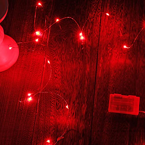 Ariceleo Mini Fairy Lights Battery Operate, 1 Pack Copper Wire Night Lights 3*AAA Battery Powered Led Starry Fairy String Lights for Bedroom, Christmas, Party, Wedding, Decoration(5m/16ft Red)