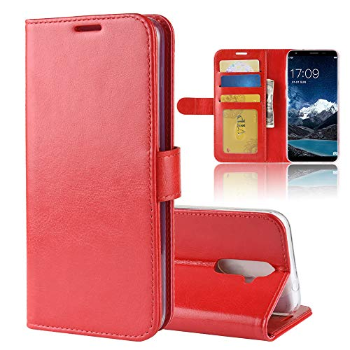 MINGYOUNG Leder Hülle für oukitel K5,Flip Hülle Wallet Stylish mit Magnetisch Ledertasche SchutzHülle für handyHülle fürn Cover (rot)