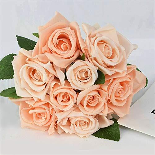 SJHQ Ewige Rosen 1 Bouquet Künstliche Rose Blume Hochzeitsstrauß Braut Hochzeitsblumen für Hochzeit Dekoration Partei liefert Kunstblumen (Color : Peach)