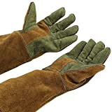 """Mig/Stick Welding Gloves,Pure Leather Heat & Fire Resistant Forge Gloves Oven Mitts,Working Protect Gloves with 16"""" Extra Long Sleeves for Tig Welders/Grill/Fireplace/Stove/Garden or Animal Handling"""