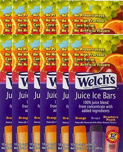 NEW Welch's Freezer Pops Made With Real Fruit Juice Grape, Strawberry Peach & Cherry Flavored Net Wt 24 Oz (12)