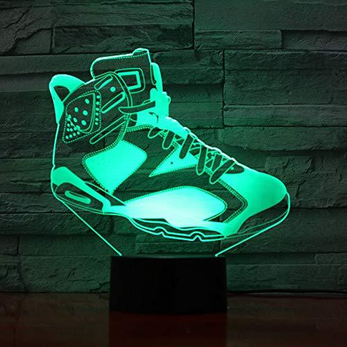 wangZJ Luz de noche de regalo de Navidad / 3d Illusion/junto a Lámpara de mesa / 7 colores Decoración de escritorio/Regalo de cumpleaños/Jordan Shoes AJ 6