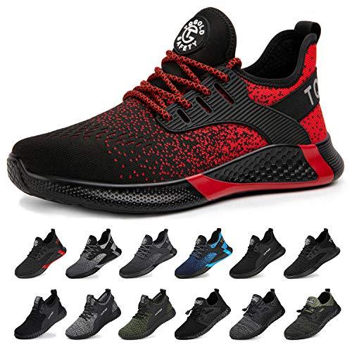 tqgold® Sicherheitsschuhe Herren Damen Arbeitsschuhe S3 mit Stahlkappe Sportlich Leichtgewicht Breathable rutschfeste Schuhe Rot 42