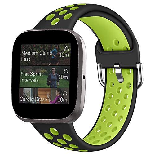 Oihxse Silicona Ajustable Correa Compatible con Fitbit Versa/Versa Special Edition/Fitbit Versa 2/Versa Lite Watch Deportivo Suave Reemplazo Delgada Pulsera Accesorio Mujer Hombre (Negro Verde,S)