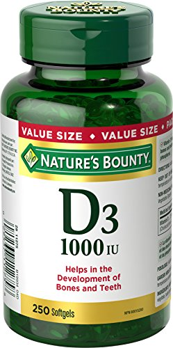 Vitamin D3 By Nature's Bounty, Vitamin D Supplement, Helps In Development Of Bones And Teeth, 1000Iu, 250 Softgels