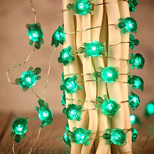 Turtle String Lights, Impress Life Summer Decorative LED Silver Wire 10 ft 40 LEDs with Remote for Indoor, Covered Outdoor Beach Party Decorations, Tent Wedding Holiday, Birthday Gift, Bedroom